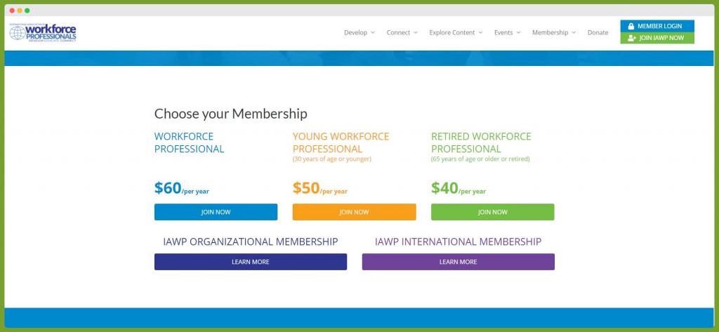 Screenshot of WorkForce Professional Choose Your Membership page