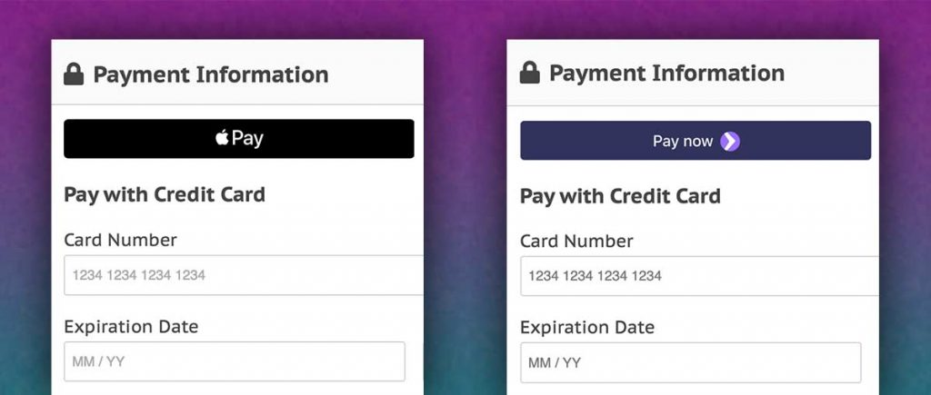 Screenshots of the membership checkout page with Apple Pay or Google Pay Payment Request Buttons