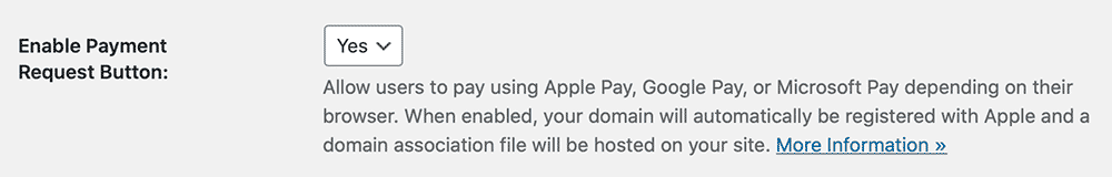 Settings screenshot to enable the Payment Request Button in Stripe Gateway