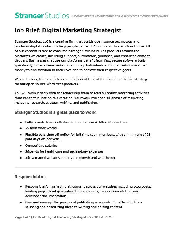 Job brief for Digital Marketing Strategist