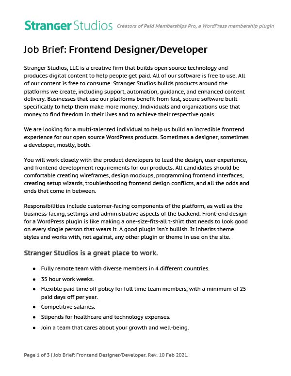 Job Brief for Frontend Designer / Developer