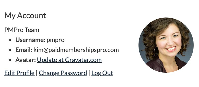 Gravatar example using the code recipe on Membership Account page.