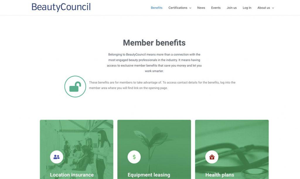 BeautyCouncil Website Screenshot: Association Membership Benefits