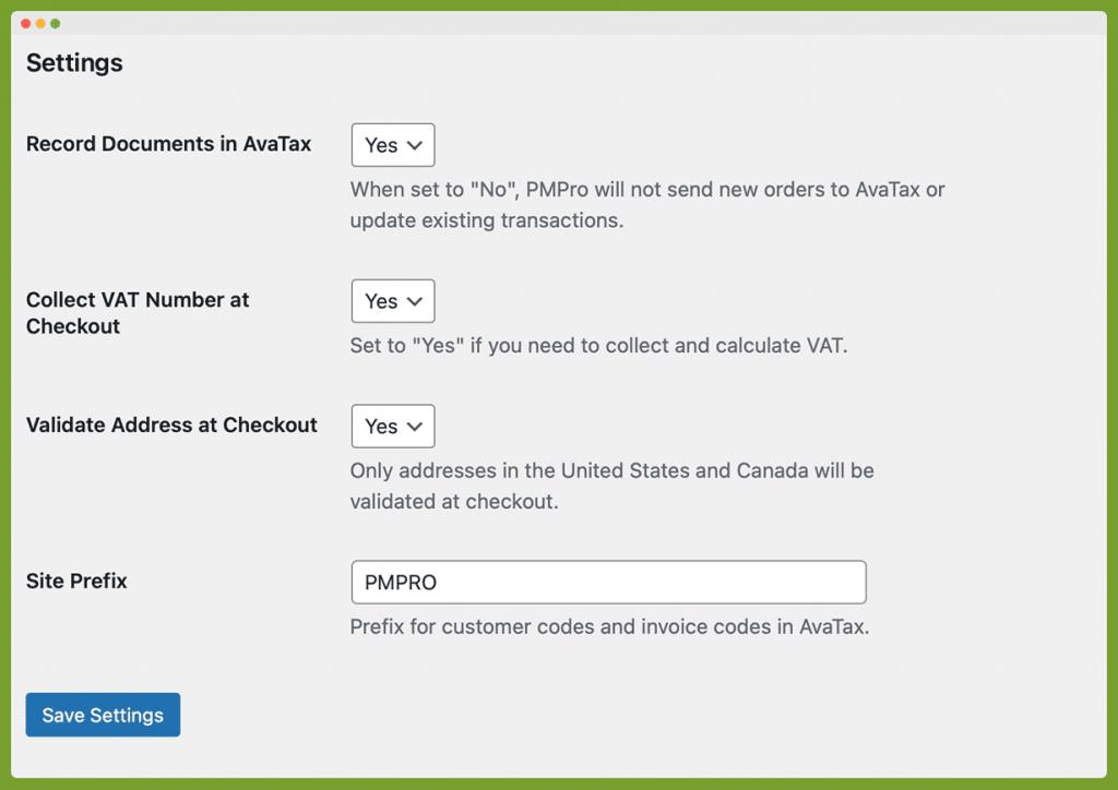 Screenshot of the Settings section of the Memberships > AvaTax screen in the WordPress admin.
