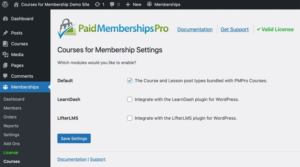 Settings page to enable course modules for built-in CPT, LearnDash, and LifterLMS.