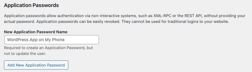 Add Application Password settings screen