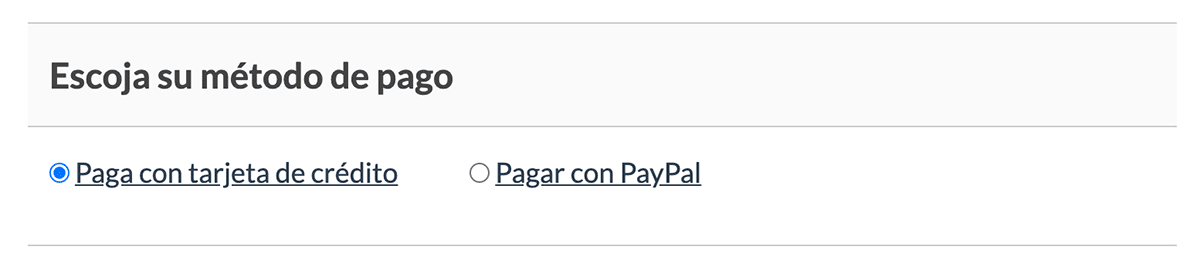 Choose Your Payment Method box after text is translated to Spanish