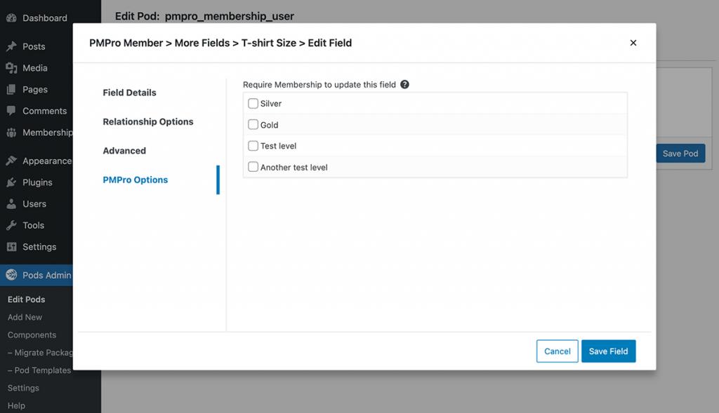 Edit Field Options