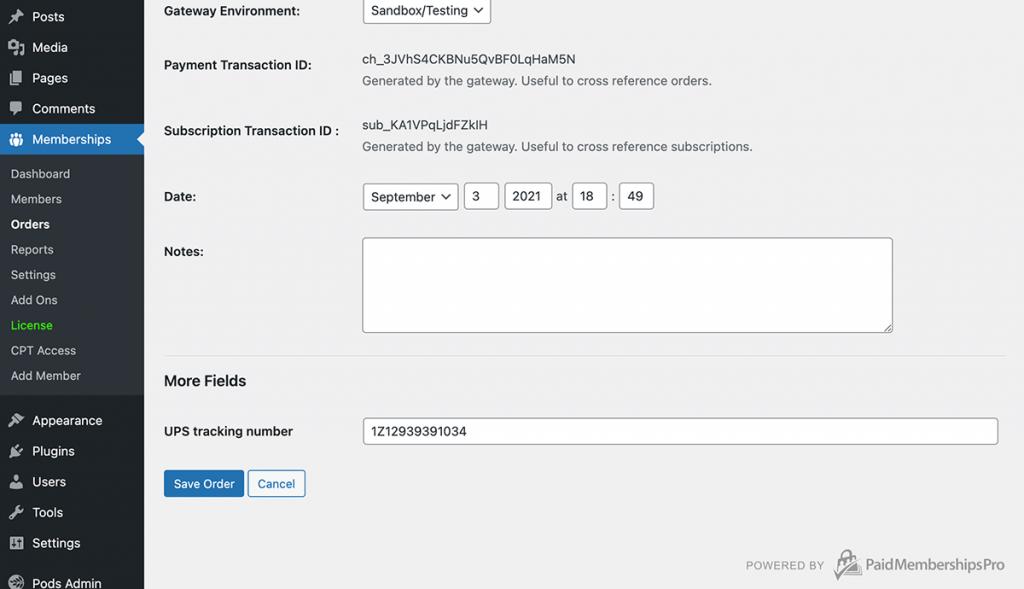 cCustom field on the Edit Order form