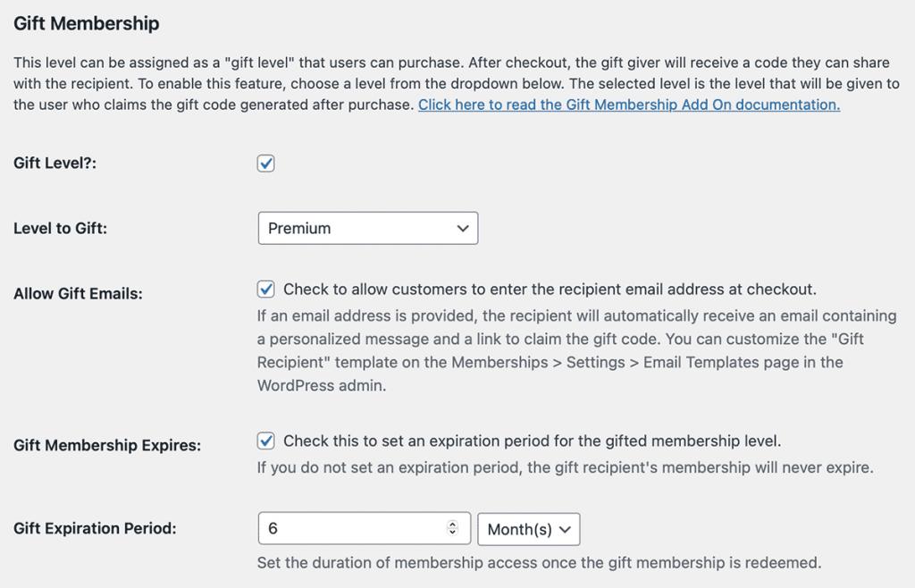 Gift Membership edit membership level settings for customizing the gift level